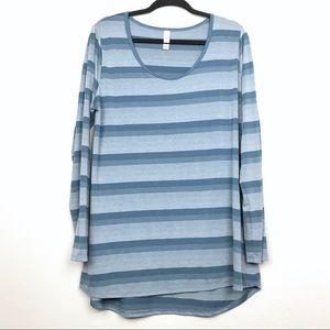 Lularoe Lynnae Blue Stripe Long Sleeve Tee Sz XL